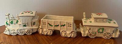 White Ceramic 3 Piece Christmas Train Figurine Set Ebay