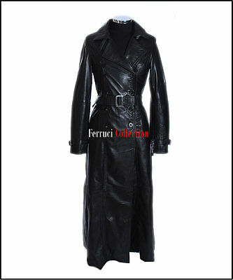 Paris Ladies Black Smart Long Full-Length Real Soft Sheep Leather Trench Coat