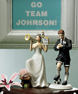 Soccer couple groom and 1 fan bride cute funny wedding cake topper image is loading 034 soccer couple 034 groom and 1 fan junglespirit Images