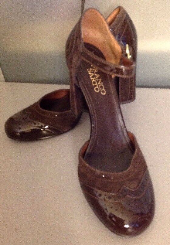 damen's 8 Franco Sarto braun patent leather Mary Jane heels