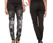 LIP SERVICE Black Skeleton Print Skinny Jeans PantsSize 9Emo Goth HOT TOPIC