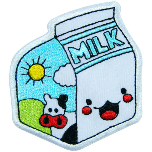Milk Box Cow Farm Cute Kids Children School Drink Morning Sun Iron-On Patch F017