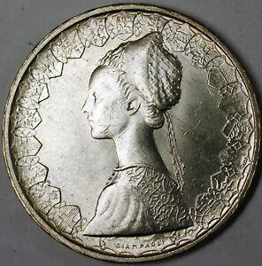 1959-Italy-Silver-500-Lira-Renaissance-Woman-and-Boat-BU-Silver-Coin