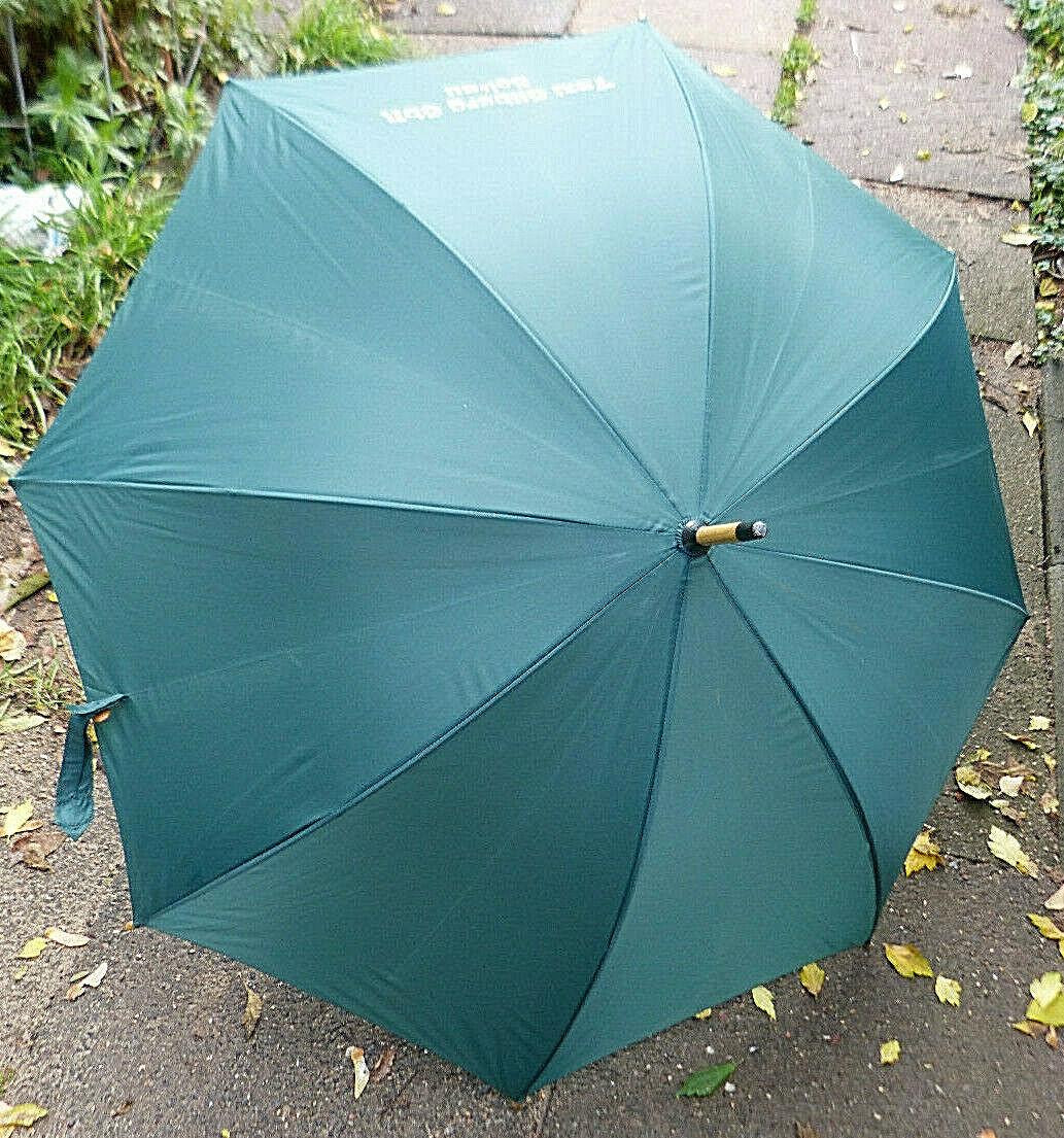 18714. Regenschirm Schirm Stockschirm grün mit Holzgriff Werbedruck 100 cm