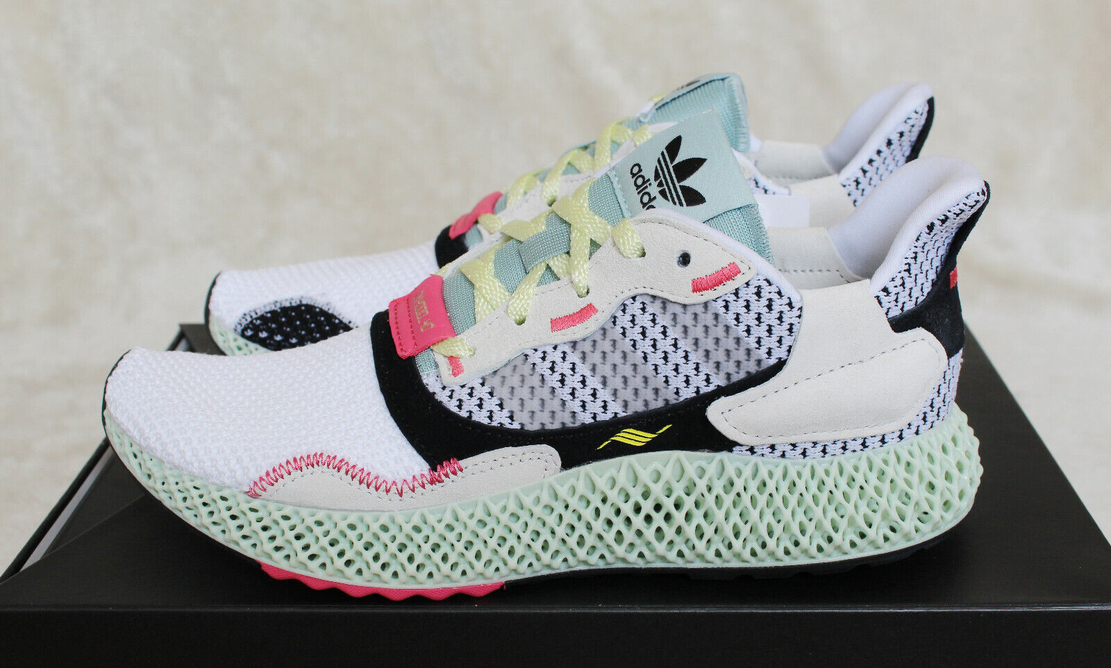 New Adidas ZX4000 4D Futurecraft Printed Sole White Green UK 7 US 7.5 EUR 40 2 3