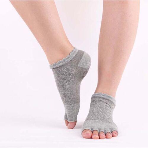 Silicone Bottom Non Skid Slip Cotton Toeless Breathable Yoga Pilates Barre Socks