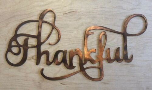 Thankful Metal Art Wall Hanging with Rustic Copper Finish