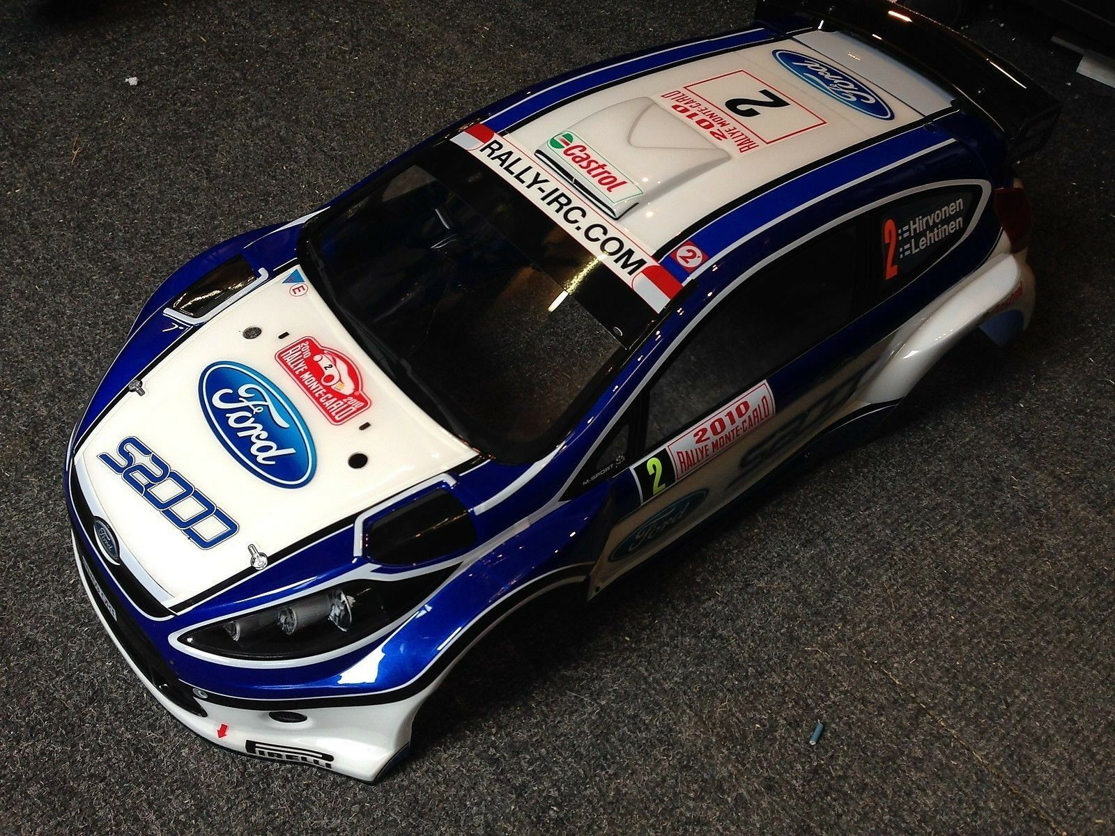NEW PAINTED KYOSHO DRX FIESTA S2000, BODY SHELL WITH DECALS, 1 9TH SCALE, TRB123