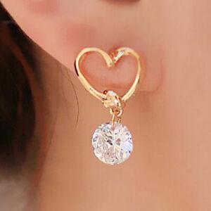 Femmes-925-Argent-Plaque-contour-d-039-oreille-boucles-d-039-oreilles-strass-Bijoux