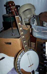 Trempé Années 1970 Hondo 6 String Resonator Banjo-afficher Le Titre D'origine