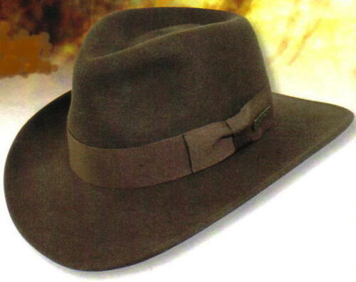 INDIANA JONES Dorfman Pacific MEN/'s CRUSHABLE WOOL FELT OUTBACK HAT Brown New