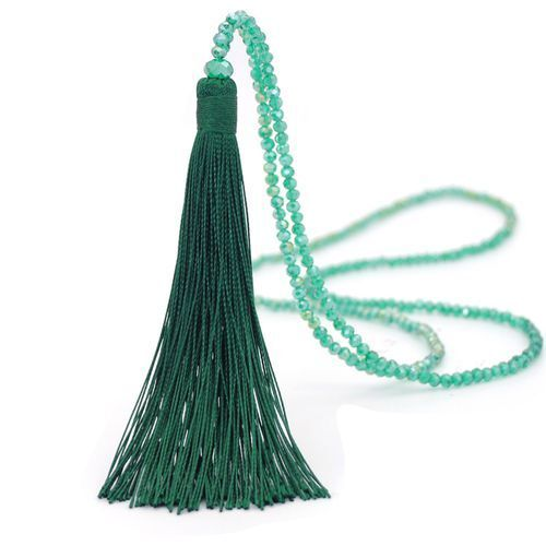 Long Tassel Necklace with Crystal Beads 90 cm  Supplied in a Black Organza Bag