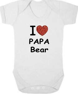 I Love Papa Bear New Bodysuit/grow/vest/romper, Daddy, Newborn Gift, Baby Shower