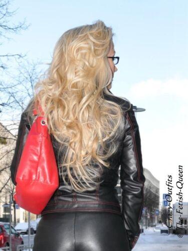 32 58 Xs Leder Jacke Größe Xxxl Schwarz Ziernähte Jeansstil Lederjacke FA0RYx
