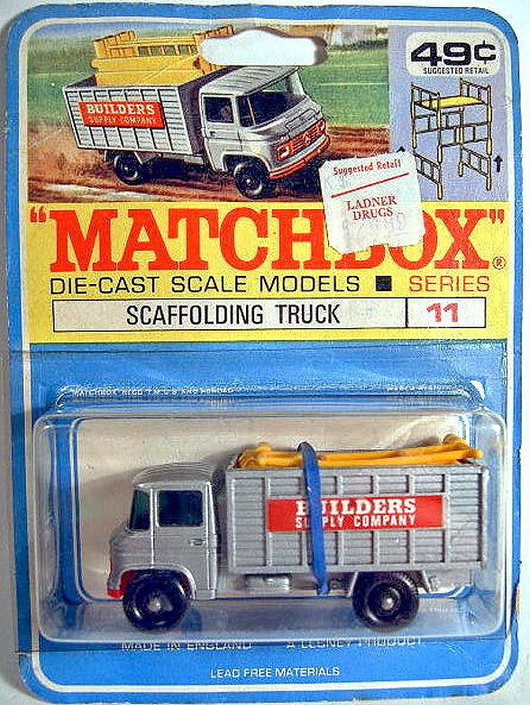 MatchBox No.11D Scaffolding Truck on rare canadian blistercard