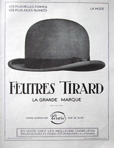 PUBLICITE-DE-PRESSE-1924-LES-FEUTRES-TIRARD-CHEZ-LES-MEILLEURS-CHAPELIERS