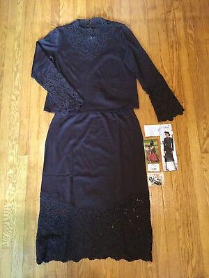 2-Pc.Peruvian Connection Rye Brown Scroll Work Top & Skirt Set Sz. L    *1109