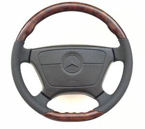 Steering-wheel-wood-Black-flat-botom-amg-w124-w126-w140-w201-R129