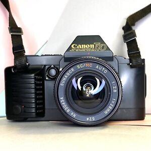 Fotocamera-Canon-T70-Film-SLR-con-SUNAGOR-SC-MC-28mm-F2-8-l-039-obiettivo-Film-Testato-funzionante