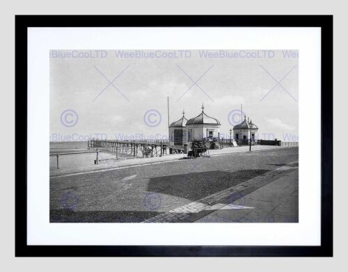 REDCAR PIER VINTAGE HISTORY OLD BW BLACK FRAME FRAMED ART PRINT PICTURE B12X707