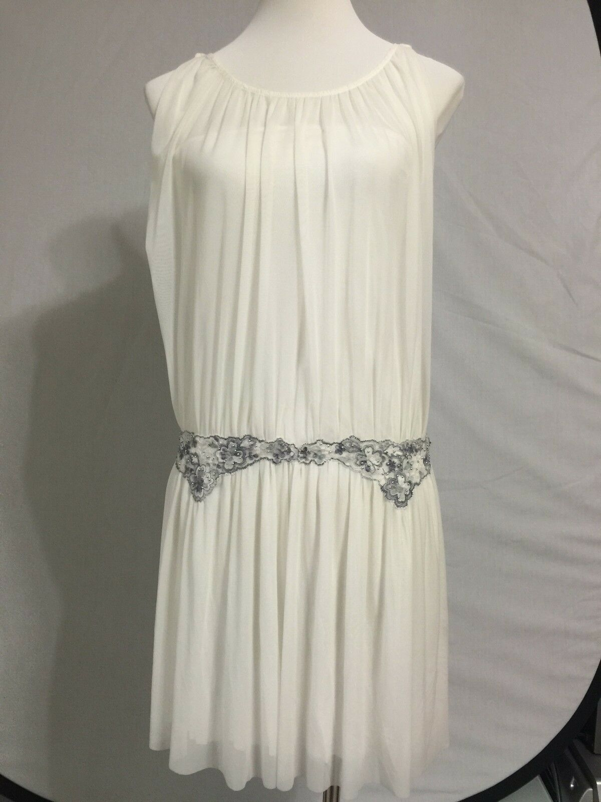 NEW Free People Weiß Sheer Gauzy Embroiderot Dress Sundress Summer S 4-6