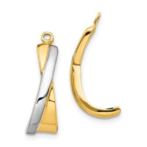 14k Multi-Tone Gold Crossover J Hoop Boucles d/'oreille Vestes 21x12 mm 1.06 G