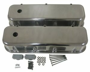 POLISHED-ALUMINUM-TALL-VALVE-COVERS-SMOOTH-FOR-65-95-CHEVY-BB-396-427-454-502