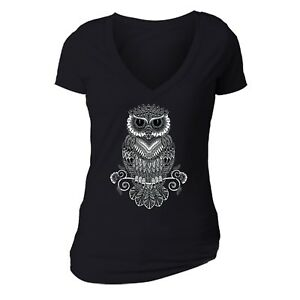 Womens-Line-Art-Owl-Day-Dead-Sugar-Skull-Dia-Los-Muertos-Animal-Mexican-T-Shirt