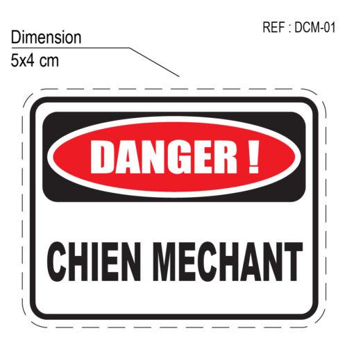 DCM-01 ATTENTION PREVENTION ANIMAL DANGER CHIEN MECHANT