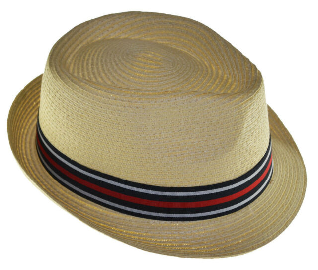 7ec92e288fb9f Braided Toyo Fedora Straw Hat with Black Gray Red Band-natural-xlarge