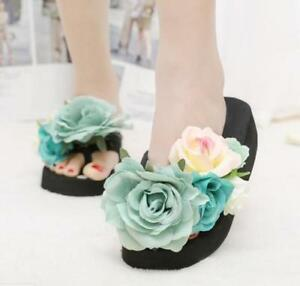 New-Womens-Flower-Wedge-Heels-Flip-Flops-Platform-Beach-Slippers-Shoes-Sandals