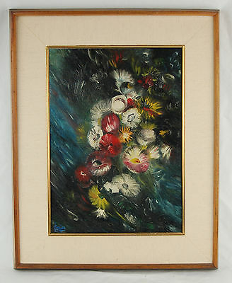 Mid-century Modern Oil Painting Floral Abstract Flowers Signed by Bejar