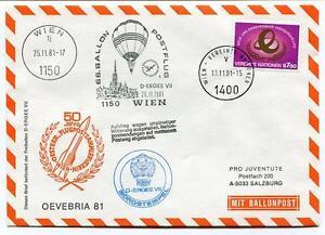 1981 Ballonpost N. 66 Pro Juventute Aerostato D-ergee Vii Wien Oevebria 81