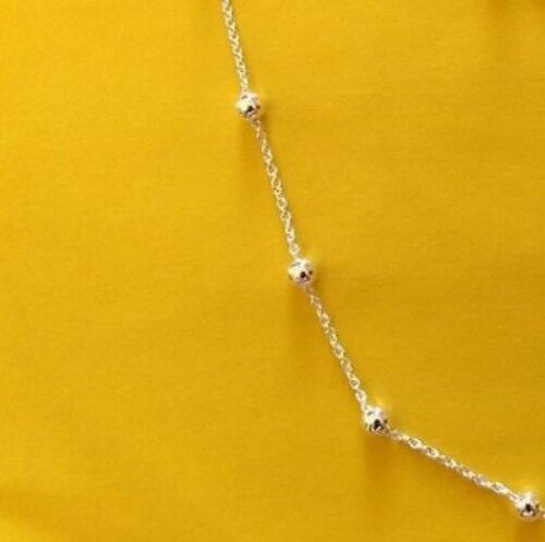 Cable /& Bead Chain Made In Italy TS Anklet .925 Sterling Silver