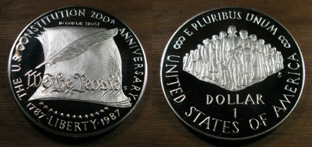 1987 San Francisco Mint Commemorative 90/% Silver Constitution Bicentennial $1