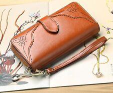 Women Wallets Brown Leather Long Zipper Wristlet Purse