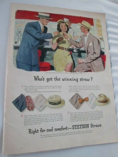 Stetson Straw Boater Hats + Old Forester Bourbon Whiskey Double Sided ADVERT