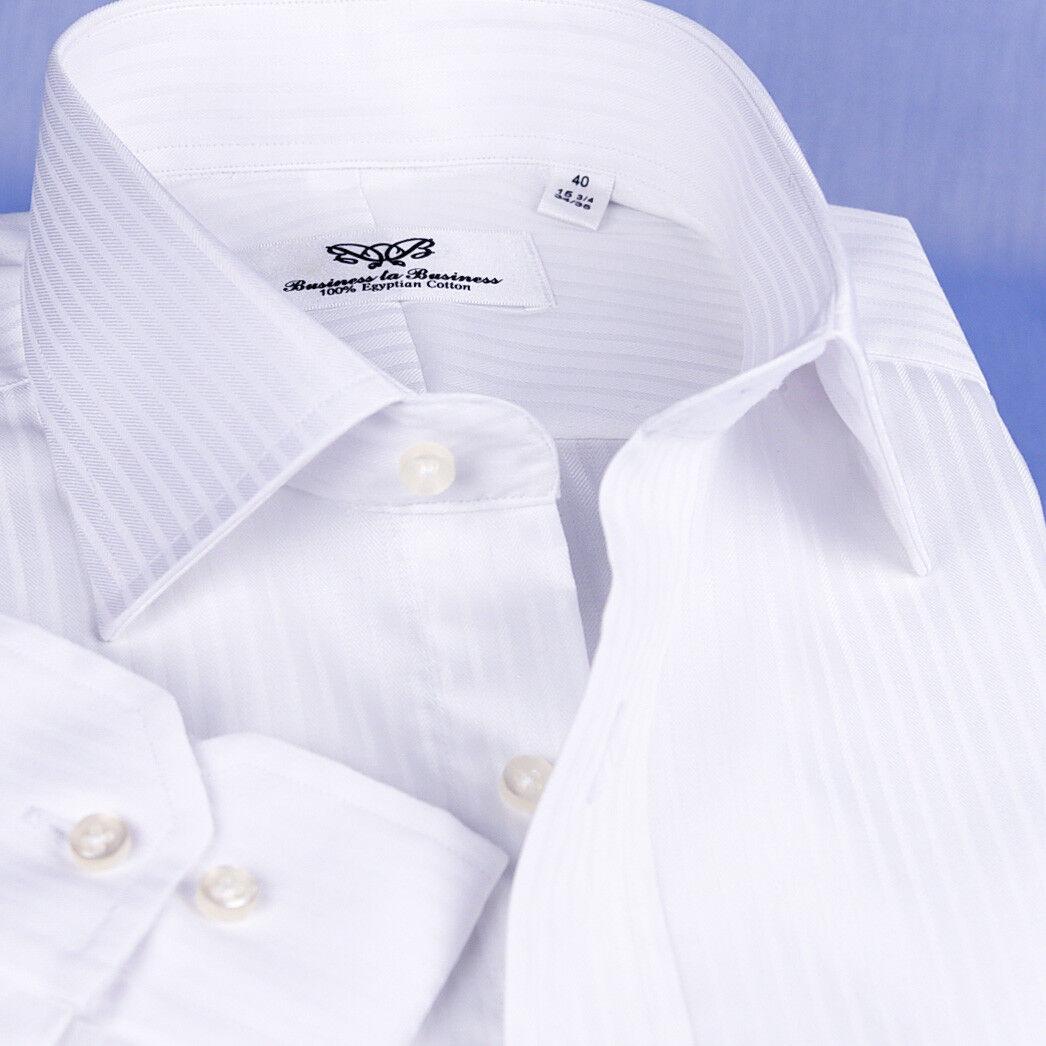 Weiß Striped Formal Geschäft Dress Shirt  Herren Solid Farbe Classy Fashion Style