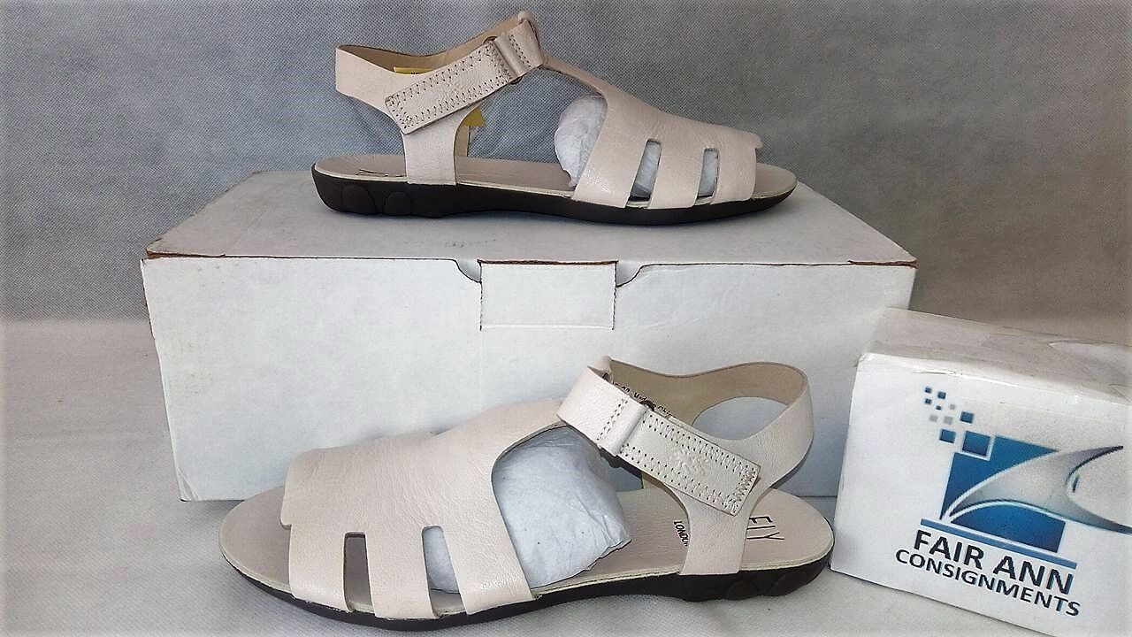 FLY London Leather Adjustable T-strap Sandals Fely Off-White EU 38 - US 7.5 NEW