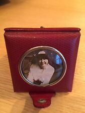 Antique  Photo Frame c1920's Fine Red Leather Triple Folded Snap Close 2 1/2""