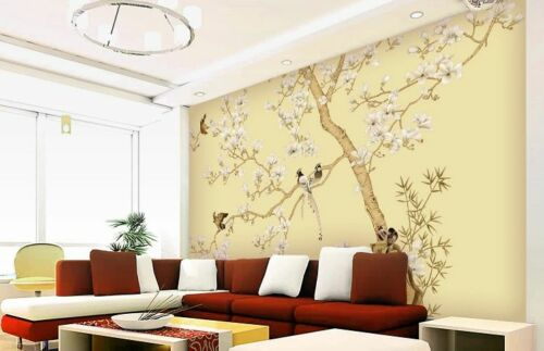 3D Bird branch flower WallPaper Murals Wall Print Decal Wall Deco AJ WALLPAPER