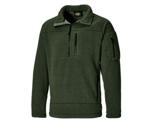 Dickies Brookton Half Zip Fleece Jumper Green JW7012 Warm Winter Sizes S-2XL