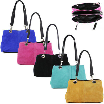 Womens Italian Suede Classic Twin Strap Leather Buckle Ladies Mini Shoulder Tote