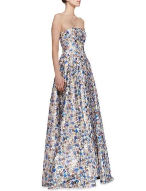 Alice + Olivia Orig. $1197 Dreema Strapless Printed Floral Gown Sz 4 ...
