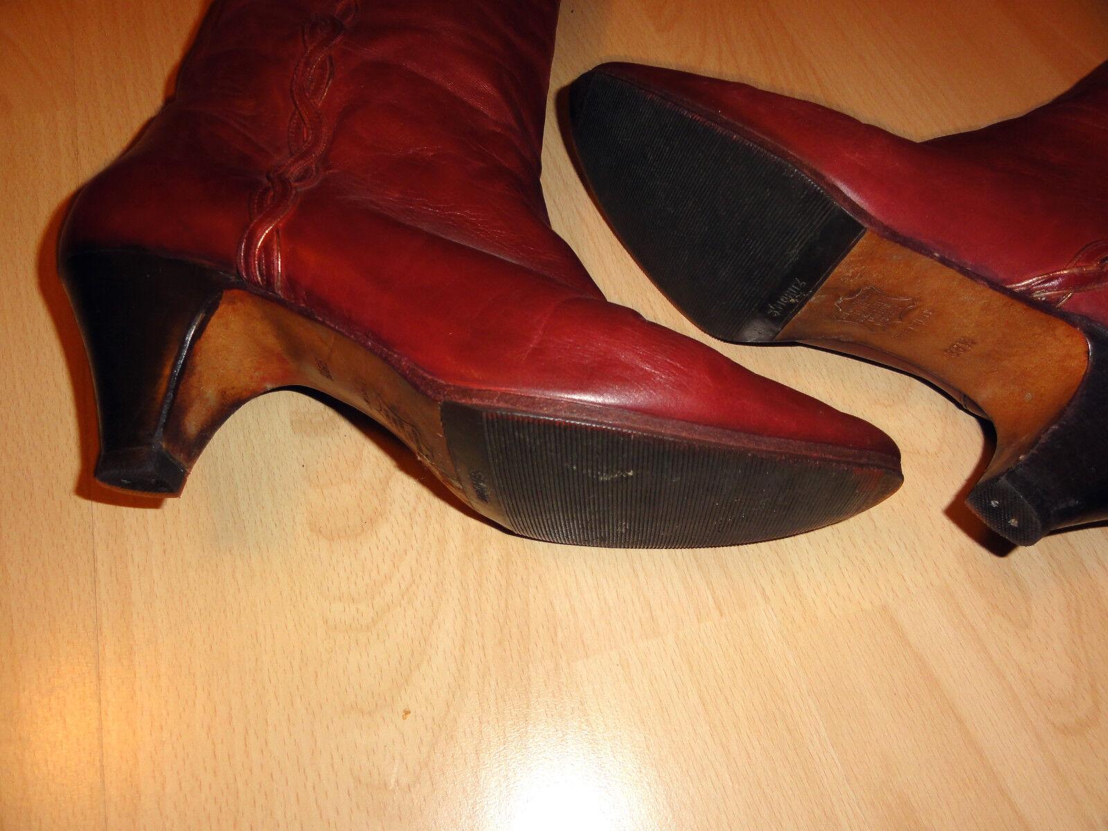 Vintage LUXUS in Leder Stiefel von BALLY, Gr.38,5 in LUXUS Rot - top 7b1cc9