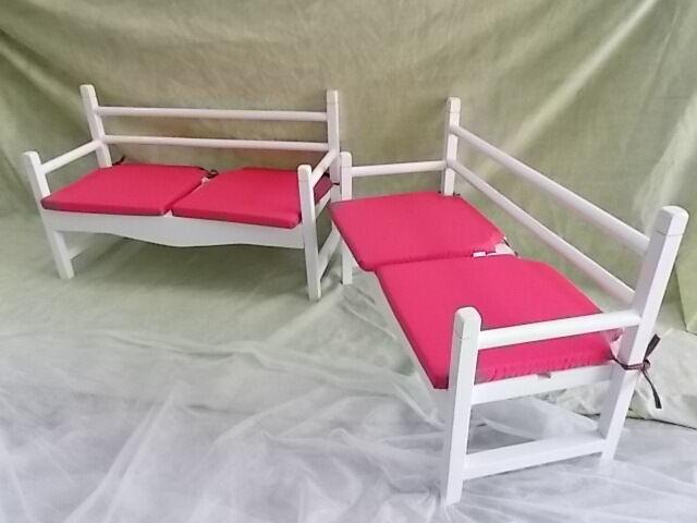 Paire de FAUTEUILS pour enfant avec coussins rose fauteuil. 87 cm Bois