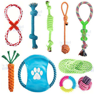 10PC-Dog-Rope-Toys-Nolsen-Pet-Puppy-Chew-Toy-Gift-Set-Durable-Cotton-Clean-Teeth