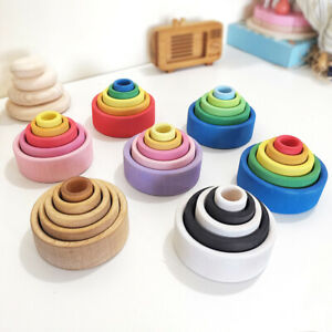 Rainbow-Wooden-Building-Block-Montessori-Educational-Toy-Kids-Bowl-Stacking-Game