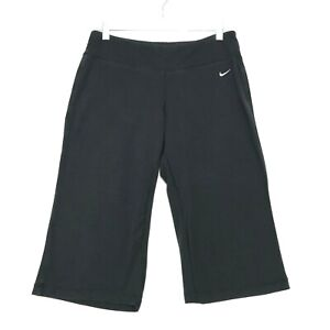 """NIKE Dri Fit Cropped Athletic Pants Womens L Large Faded Black 18"""" Inseam LOGO"""