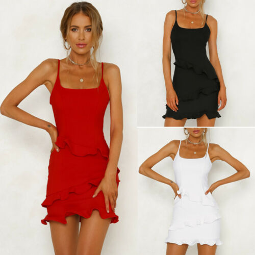 Women Ruffle Frill Strappy Summer Party Bodycon Short Mini Dress Holiday Clothes